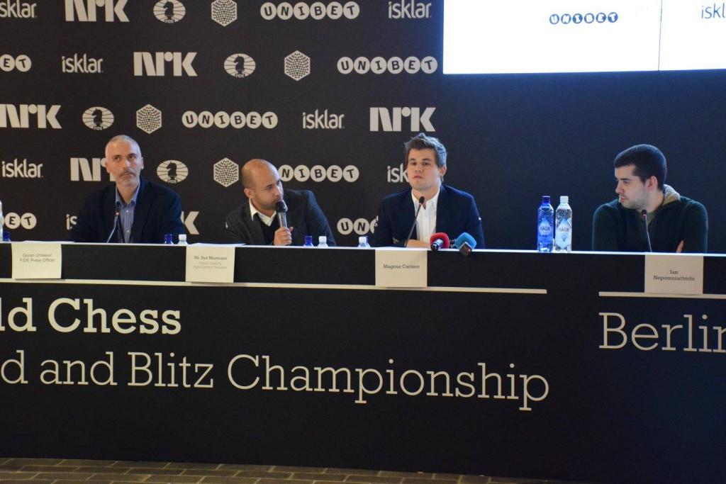 Agon-sjef Ilya Merenzon under pressekonferansen i VM i Berlin i fjor. Foto: Tarjei J. Svensen