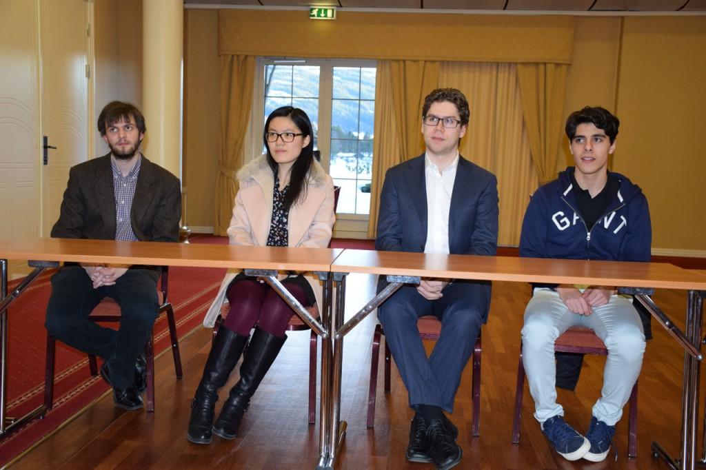 Altibox Norway Chess Qualifier participants: Nils Grandelius, Yifan Hou, Jon Ludvig Hammer and Aryan Tari. Photo: Tarjei J. Svensen