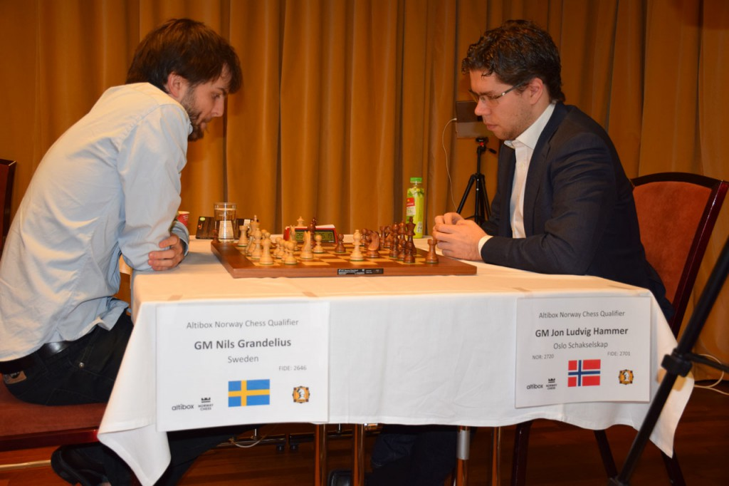 Grandelius med viktig seier mot Hammer i 4. runde. Foto: Tarjei J. Svensen