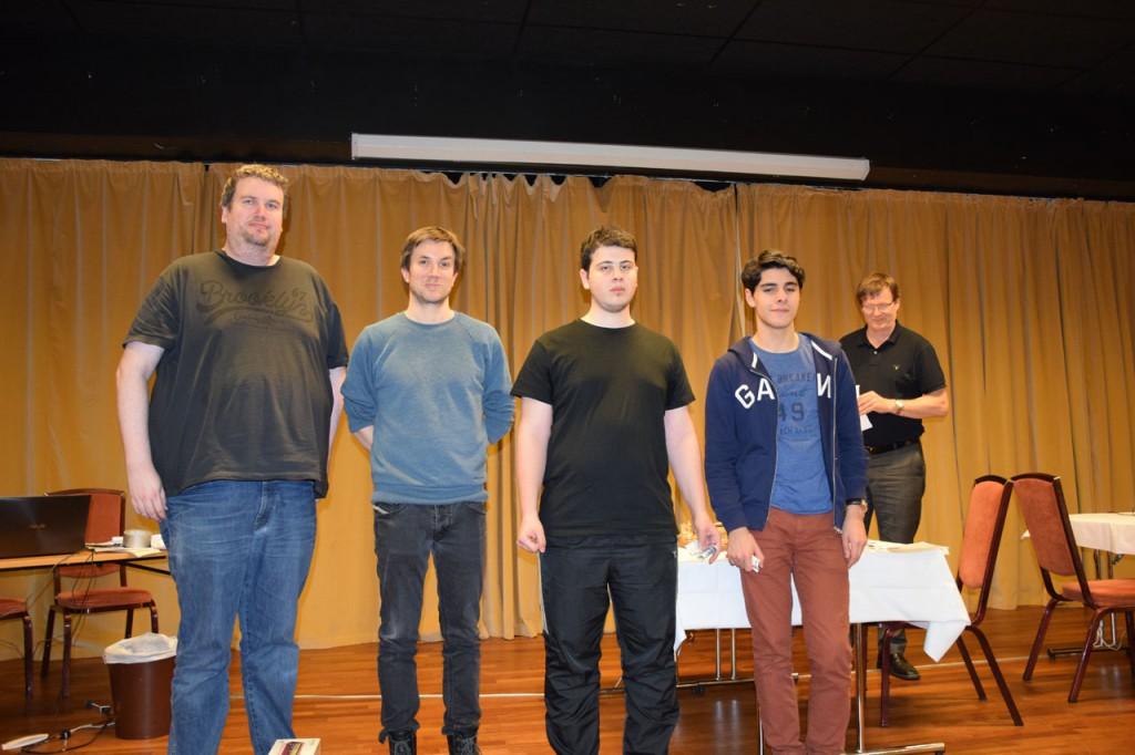 Premievinnere i klasse A: Fra venstre Håkon Bentsen, Leif E. Johannessen, Ward Al-Tarbosh og Aryan Tari. Foto: Tarjei J. Svensen