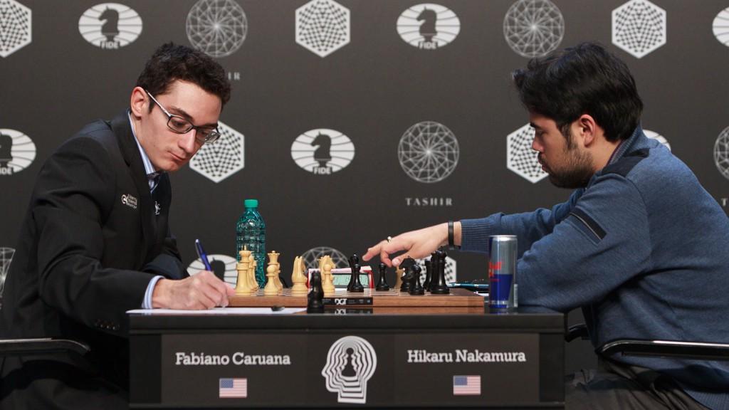 Caruana - Nakamura. Foto: WORLD CHESS Press Office; Evgeny Pogonin