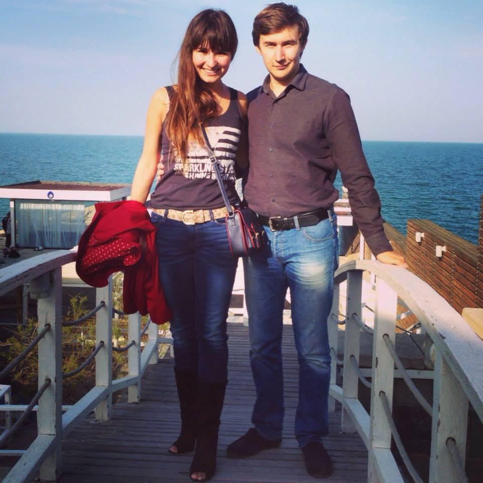 Galiya og Sergey i Aserbadsjan i 2014. Foto: Karjakins Facebook-side