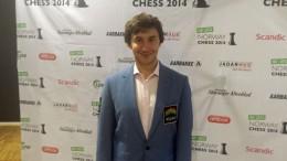Sergey Karjakin etter seieren i Norway Chess i 2014. Foto: Tarjei J. Svensen