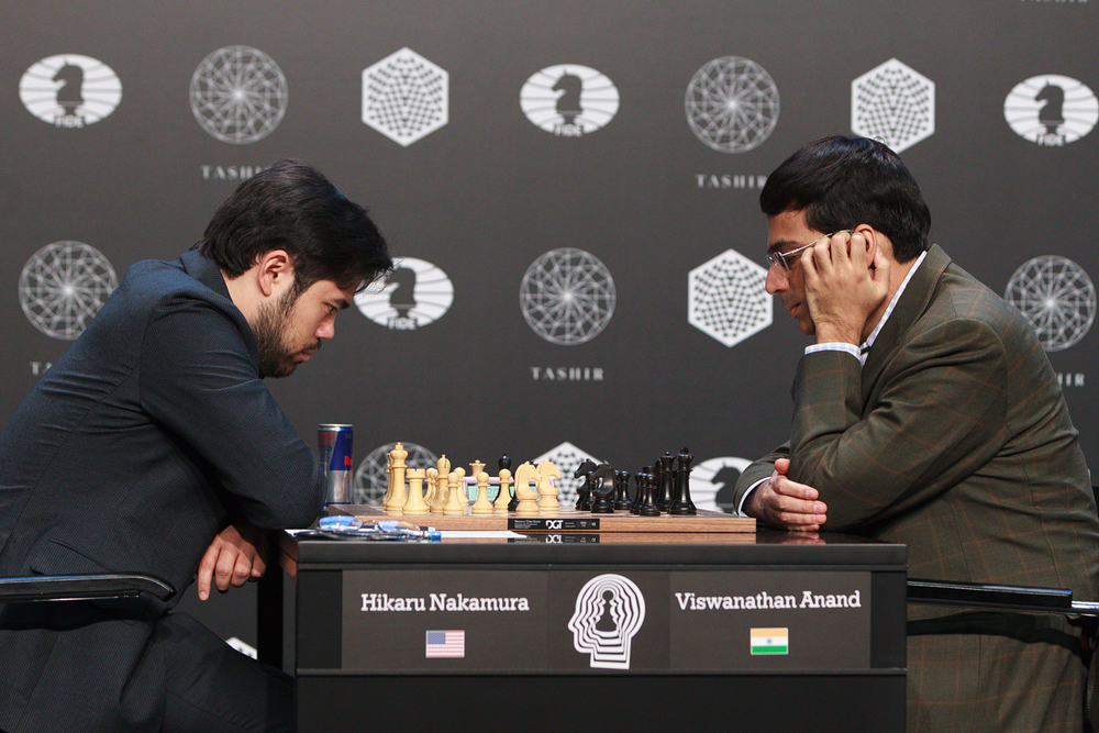 Nakamuras score mot Anand er formidabel: Foto: WORLD CHESS Press Office; Evgeny Pogonin