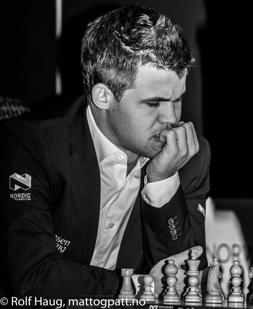 Magnus Carlsen enjoying himself in Stavanger this year, unlike last year. Photo: Rolf Haug