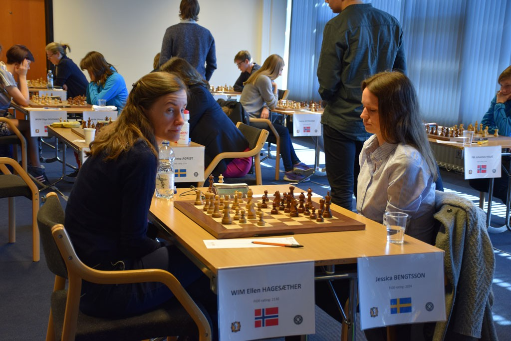 4th board Ellen Hagesæther was the women's top scorer with 2/2. Photo: Tarjei J. Svensen