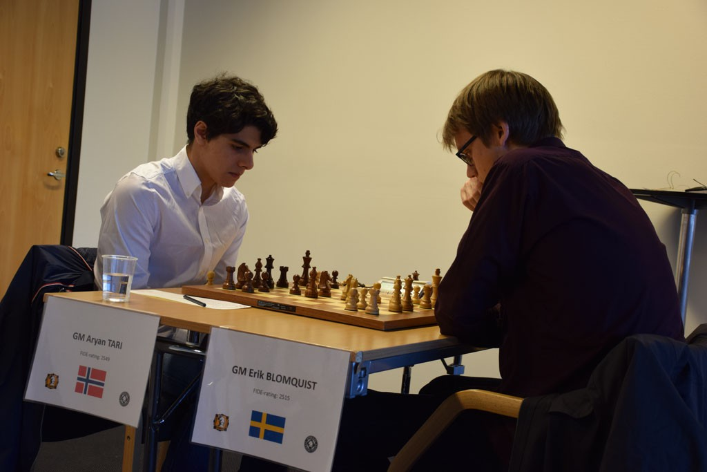 One of Norway's brightest talents, GM Aryan Tari in action vs Erik Blomqvist. Photo: Tarjei J. Svensen