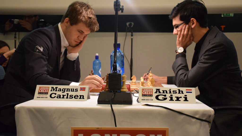 Carlsen and Giri in London. Photo: Yerazik Khachatourian