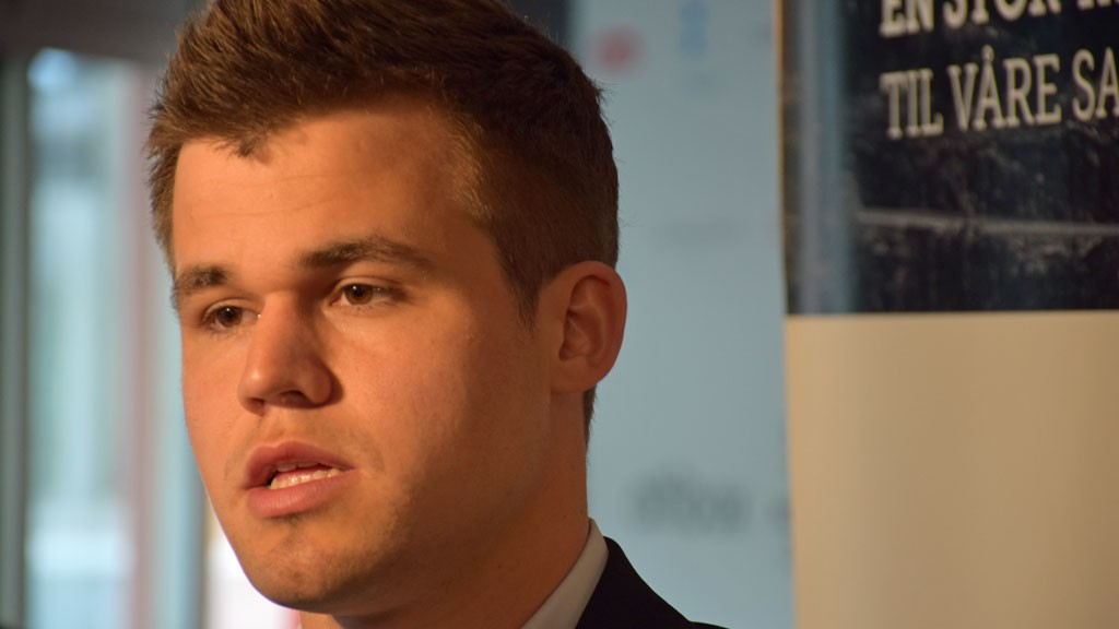 Carlsen i intervjusonen etter partiet mot Topalov. Foto: Tarjei J. Svensen