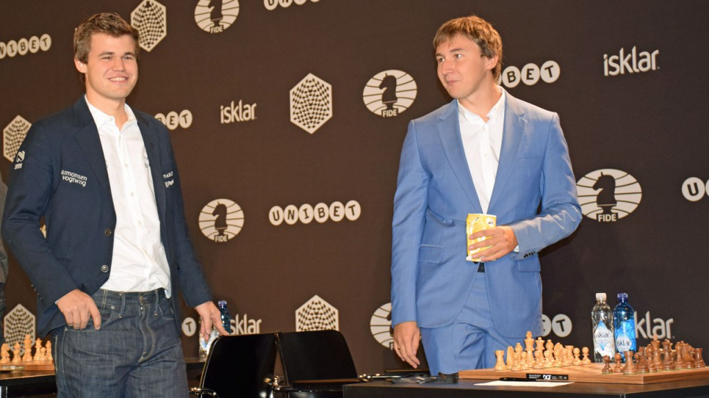 Carlsen and Karjakin in Berlin last year. Photo: Tarjei J. Svensen