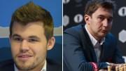 Magnus Carlsen og Sergey Karjakin møtes ikke i Stavanger. Foto: Yerazik Khachatourian/Evgeny Pogonin