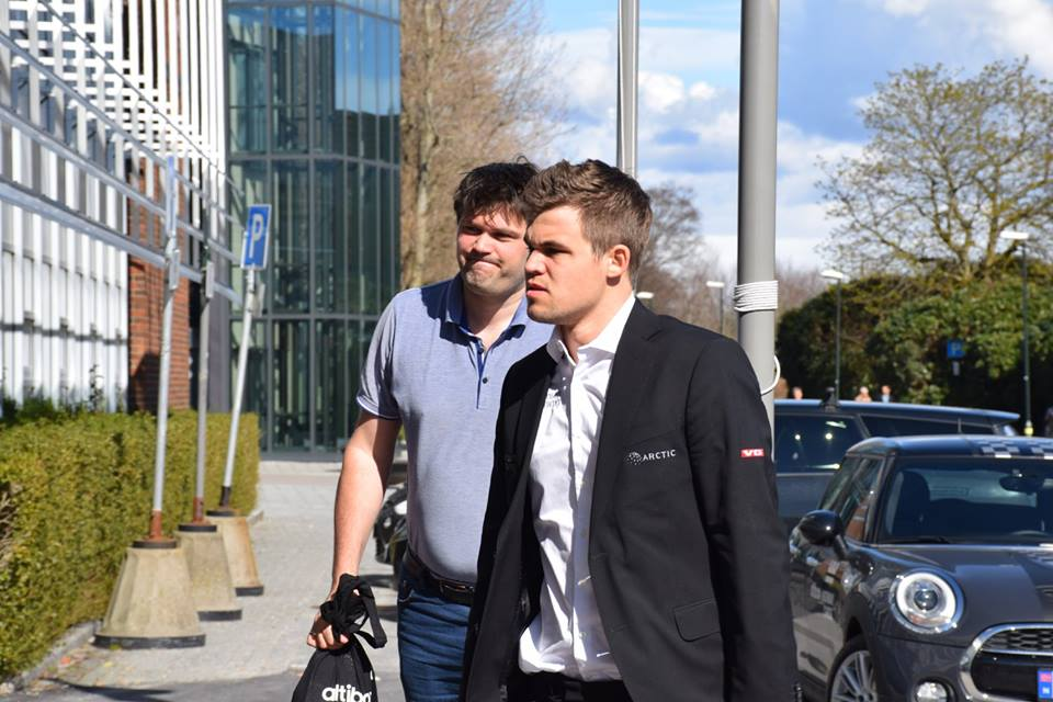 Carlsen with his regular second Peter Heine Nielsen. Photo: Yerazik Khachatourian