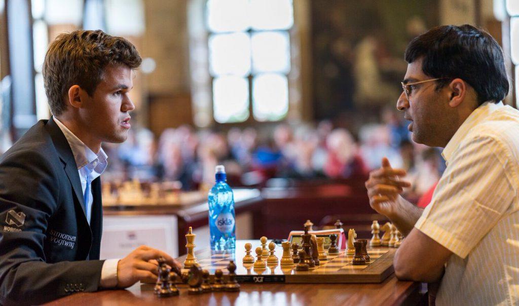 Anand måtte nok en gang se seg slått av nordmannen. Foto: Lennart Ootes/Grand Chess Tour