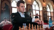 Magnus Carlsen i Leuven. Foto: Spectrum Studios/Grand Chess Tour