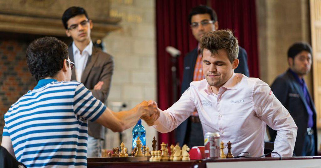 Caruana satte Carlsen i sjakkmatt. Foto: Lennart Ootes/Grand Chess Tour
