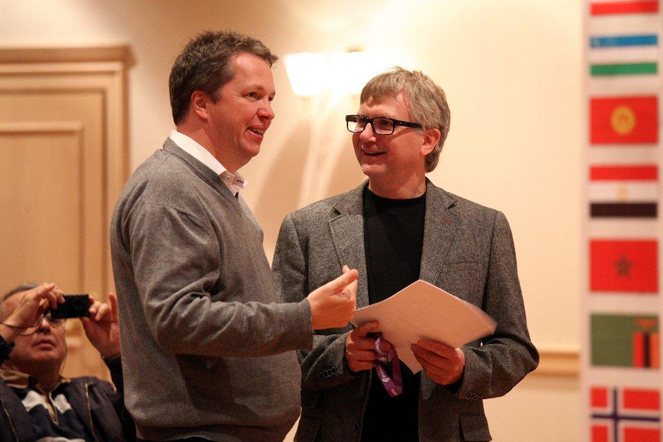 Jan Sigmund Berglund, her sammen med Nigel Short i FIDEs World Cup i 2013. Foto: Anastasiya Karlovich