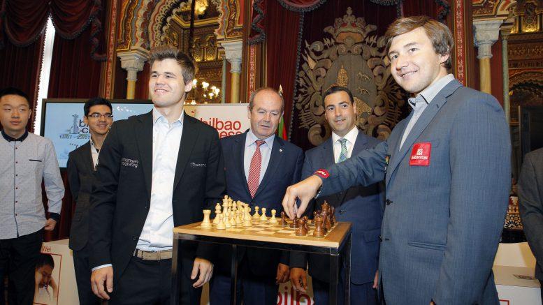Fra pressekonferansen i dag. Foto: Bilbao Chess