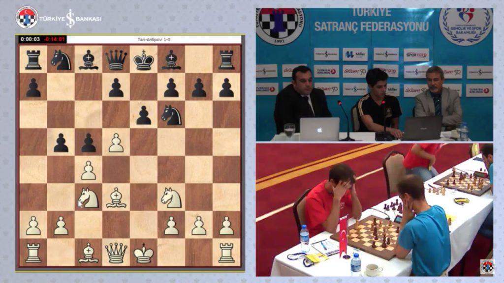 Fra det tyrkiske sjakkforbundets sending med IM Can Arduman og Ozgur Akman, med Aryan Tari i studio.