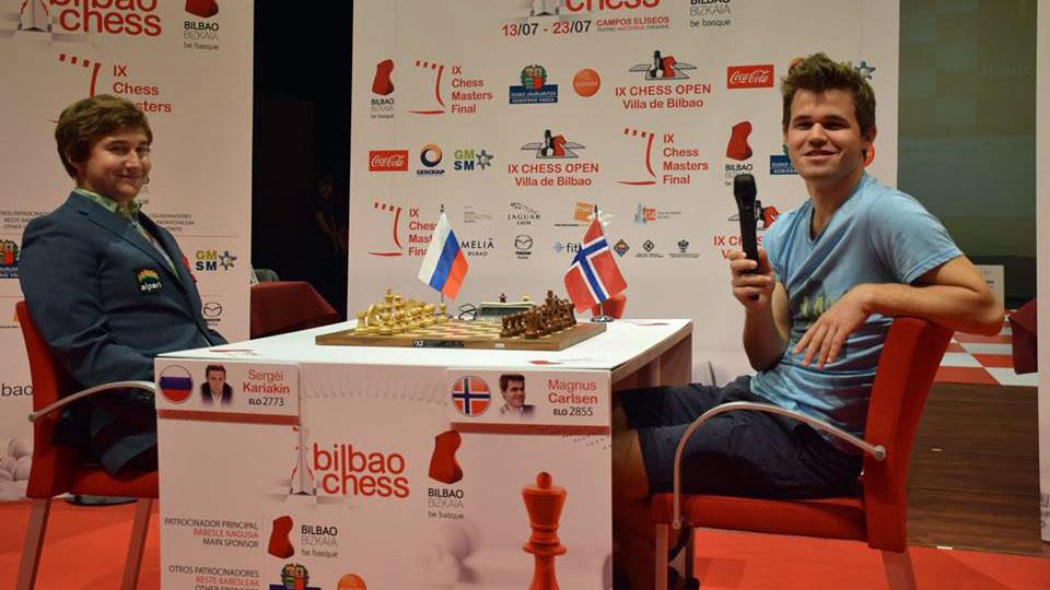 God stemning da Karjakin og Carlsen stilte på en liten pressekonferanse med spanske medier. Foto: Tarjei J. Svensen