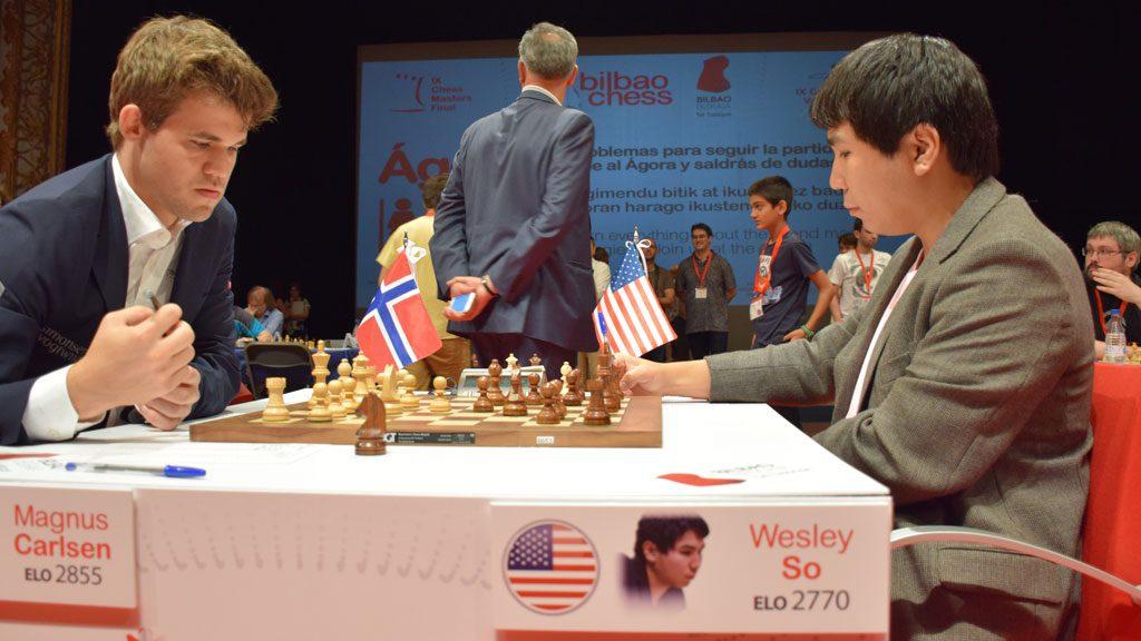 Magnus Carlsen i møtet med So i Bilbao i juli. Foto: Yerazik Khachatourian