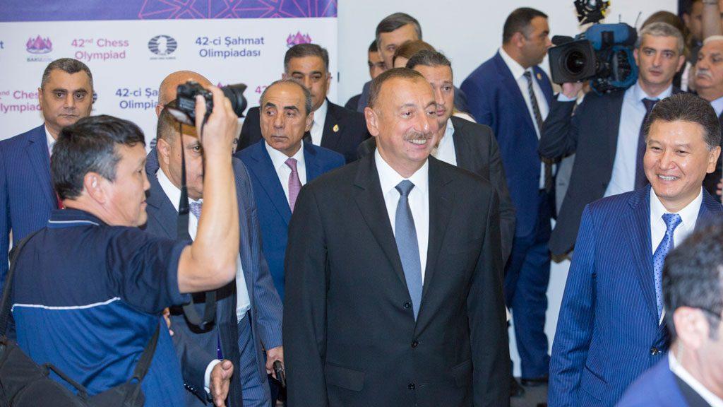 Aliyev og Kirsan fredag. Foto: Maria Emelianova