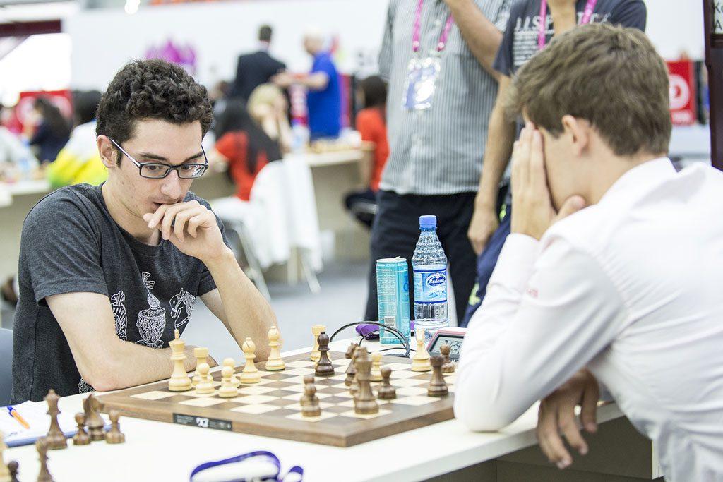 Fabiano Caruana fornøyd med remis mot Carlsen. Foto: David Llada