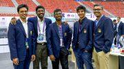 India: Fra venstre Pentaela Harikrishna, Baskaran Adhiban, S.P Sethuraman, Vidit Gujrathi og kaptein R.B Ramesh. Foto: Paul Truong