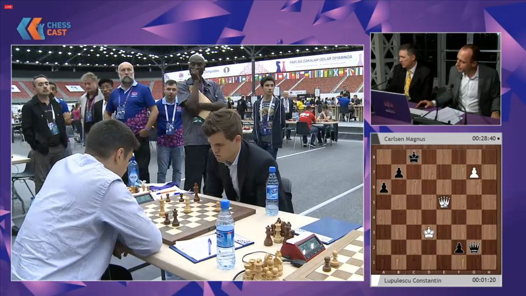 Lupulescu og Carlsen i sluttspillet. Foto: ChessCast/Baku Chess Olympiad