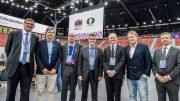 Norges fremste sjakkdommere i Baku: (fra venstre:) Henrik Sjøl, Otto Milvang, Erling Skjelstad, Karl Johan Rist, Roar Nærheim, Pål Nordquelle. Foto: David Llada