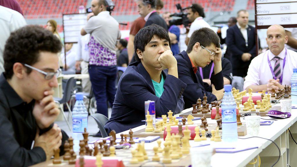 USA med Fabiano Caruana, Wesley So, Hikaru Nakamura og Ray Robson i dag. Foto: Eteri Kublashvili