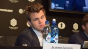 The champion was visibly weary and disgruntled after game 5, and dragged himself through the post-game press duties. Photo: Tarjei Svensen