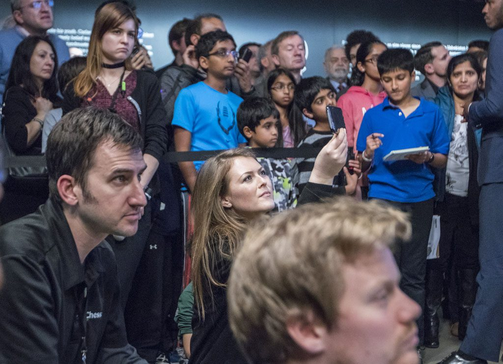 Play Magnus CEO Kate Murphy among the crowd following the press conference on Thanksgiving. Photo: Maria Emelianova