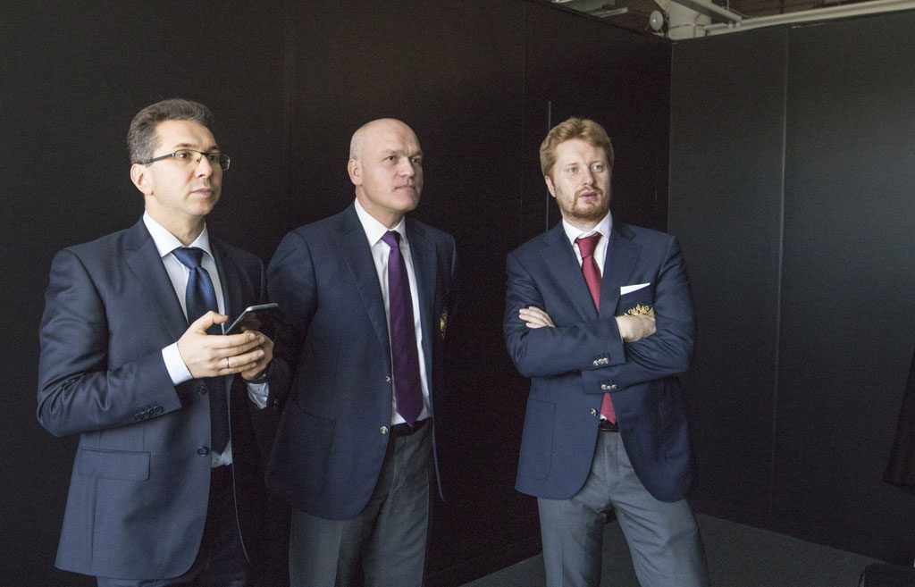 Team Karjakin: Manager Kyrilios Zangalis, president of RCF Andrei Filatov and second Vladimir Potkin. Photo: Maria Emelianova