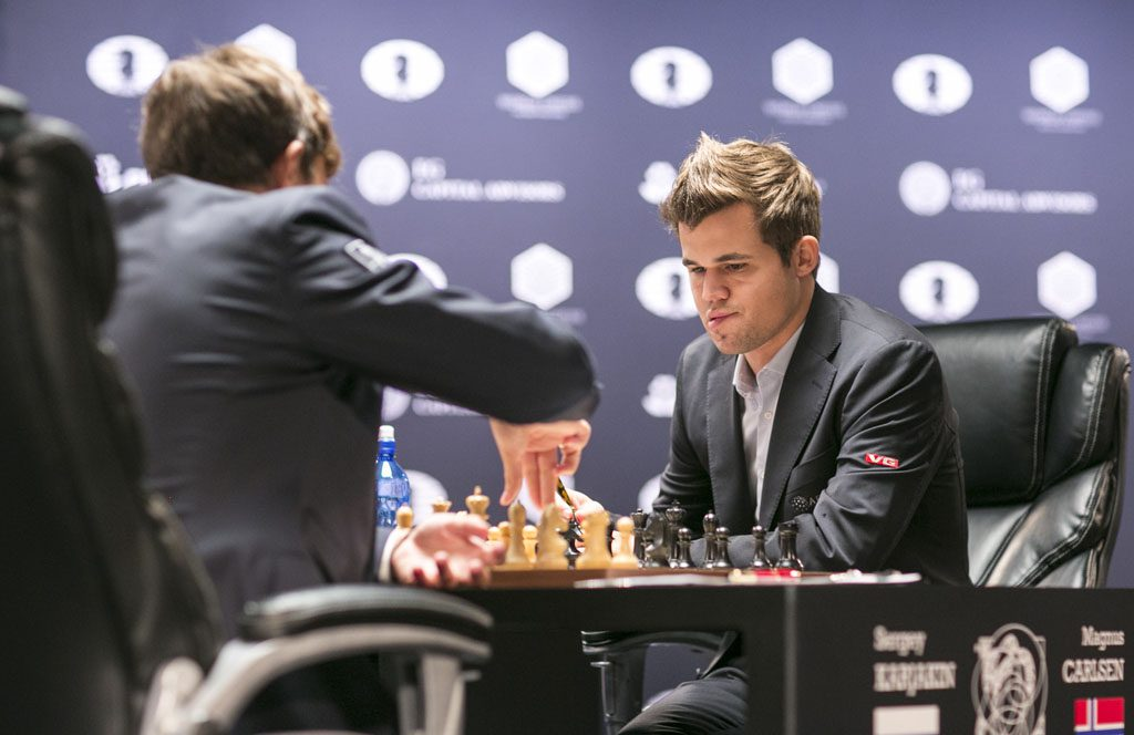 Their draw in game 7 was their ninth consecutive draw where Karjakin is white. Photo: Maria Emelianova