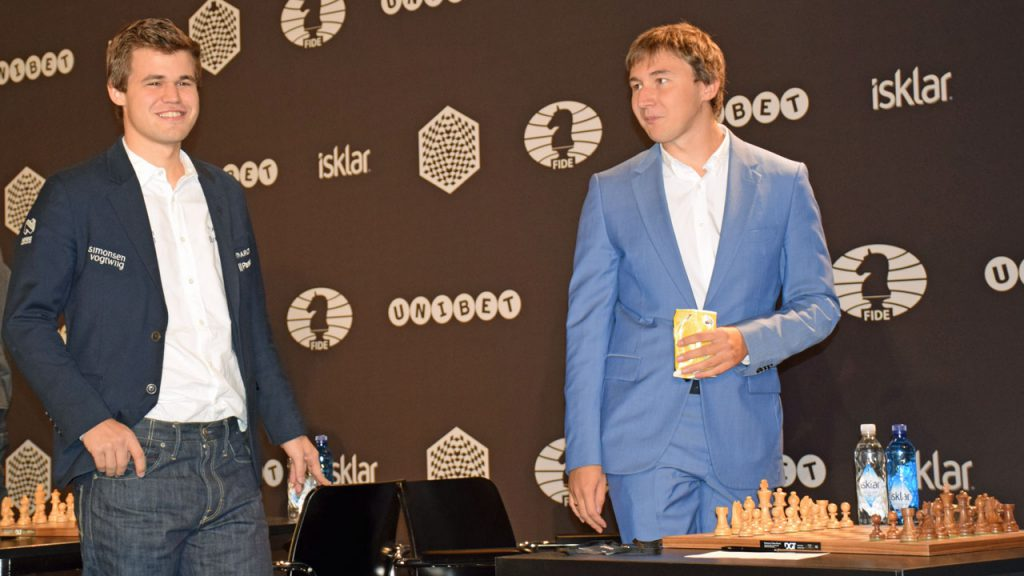 Carlsen and Karjakin in a good mood during the World Rapid & Blitz Championship in Berlin last year. Photo: Tarjei J. Svensen