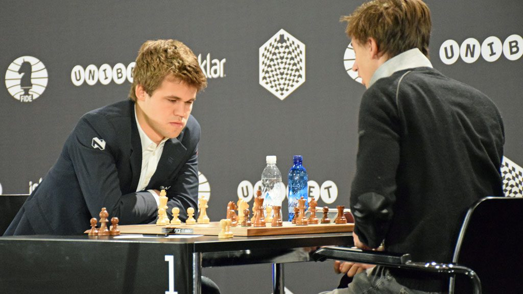 Magnus Carlsen during his game with Daniil Dubov in World Rapid Chess Championship in Berlin last year. Photo: Yerazik Khachatourian