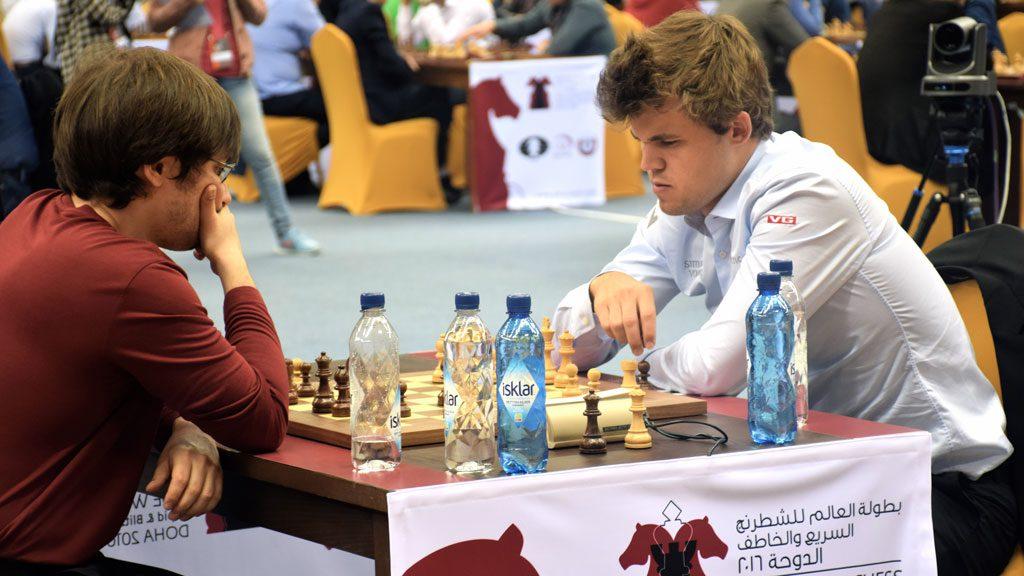 Dmitry Jakovenko måtte gi tapt for Magnus Carlsen i åttende runde. Foto: Yerazik Khachatourian