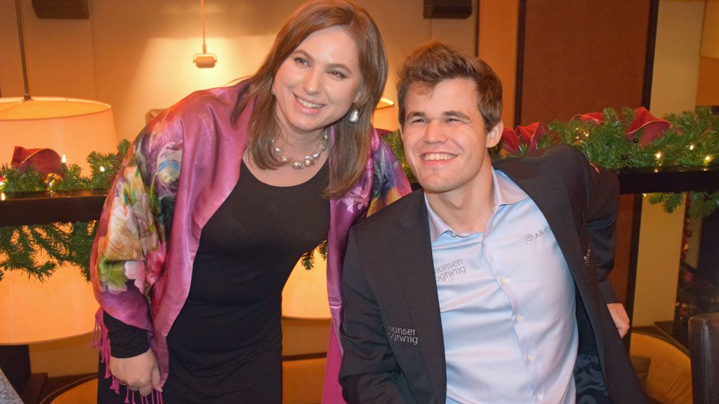 Two legends together: Judit Polgar and Magnus Carlsen. Photo: Tarjei J. Svensen