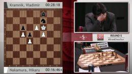 Hikaru Nakamura kan nesten ikke tro det han ser da Vladimir Kramnik reddet et halvpoeng med dette mestertrekket. Foto: Skjermdump/London Chess Classic