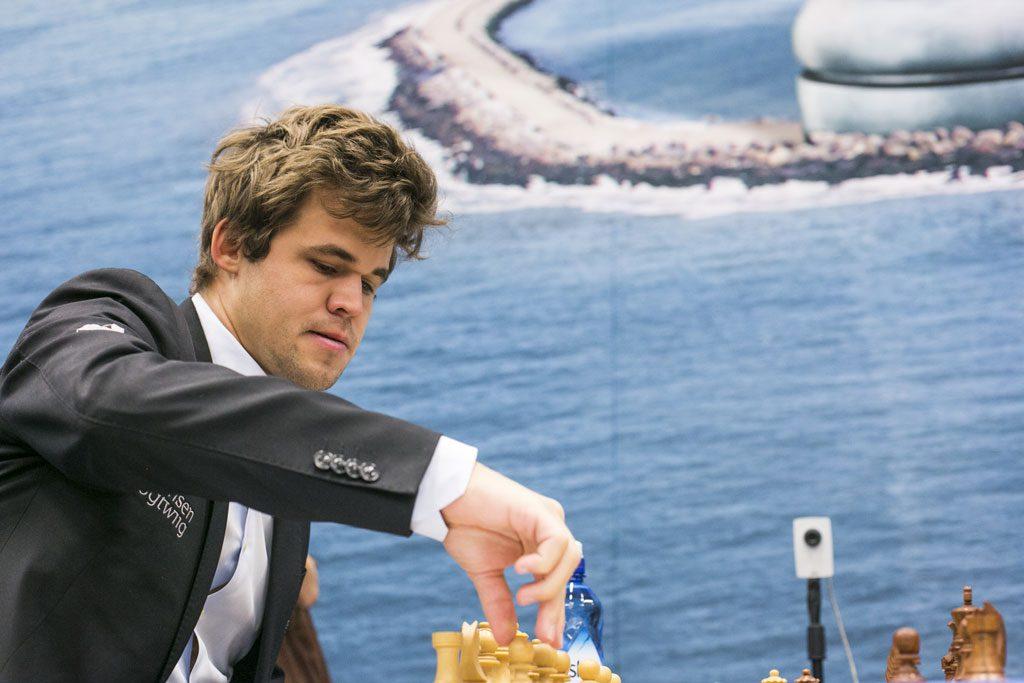 Magnus Carlsen i 11. runde mot Baskaran Adhiban i Tata Steel Chess 2017. Foto: Maria Emelianova