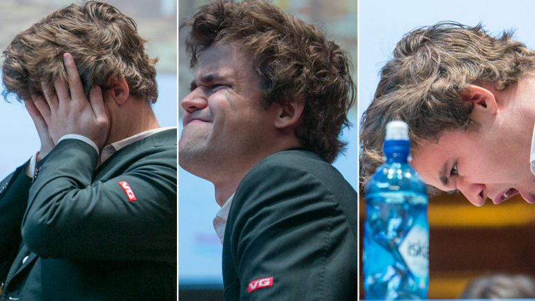 Magnus Carlsen virket ikke særlig opplagt før partiet mot Pentala Harikrishna i 10. runde i Haarlem. Foto: Maria Emelianova