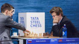 Rask remis for Carlsen mot Andreikin i 3. runde. Foto: Alina l'Ami/Tata Steel Chess