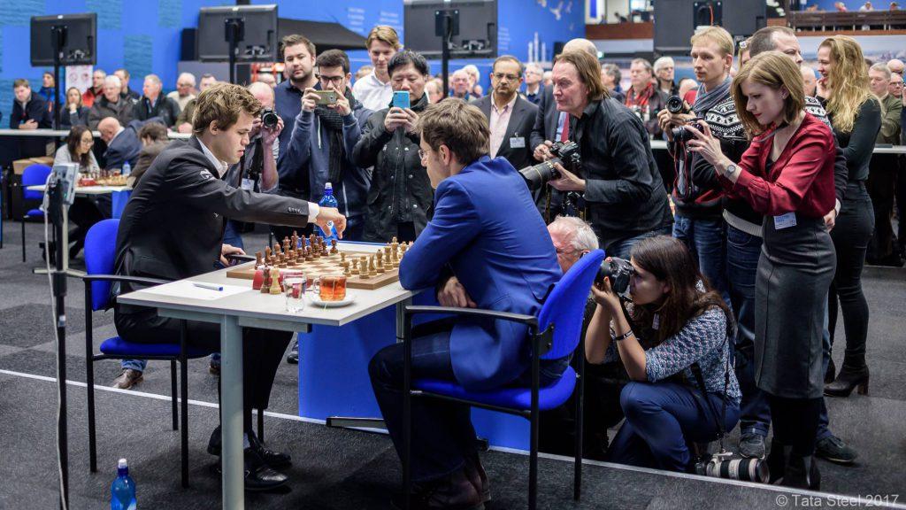 Det ble aldri noen festforestilling i dagens parti, selv om Aronian hadde et visst press. Foto: Alina l'Ami/Tata Steel Chess