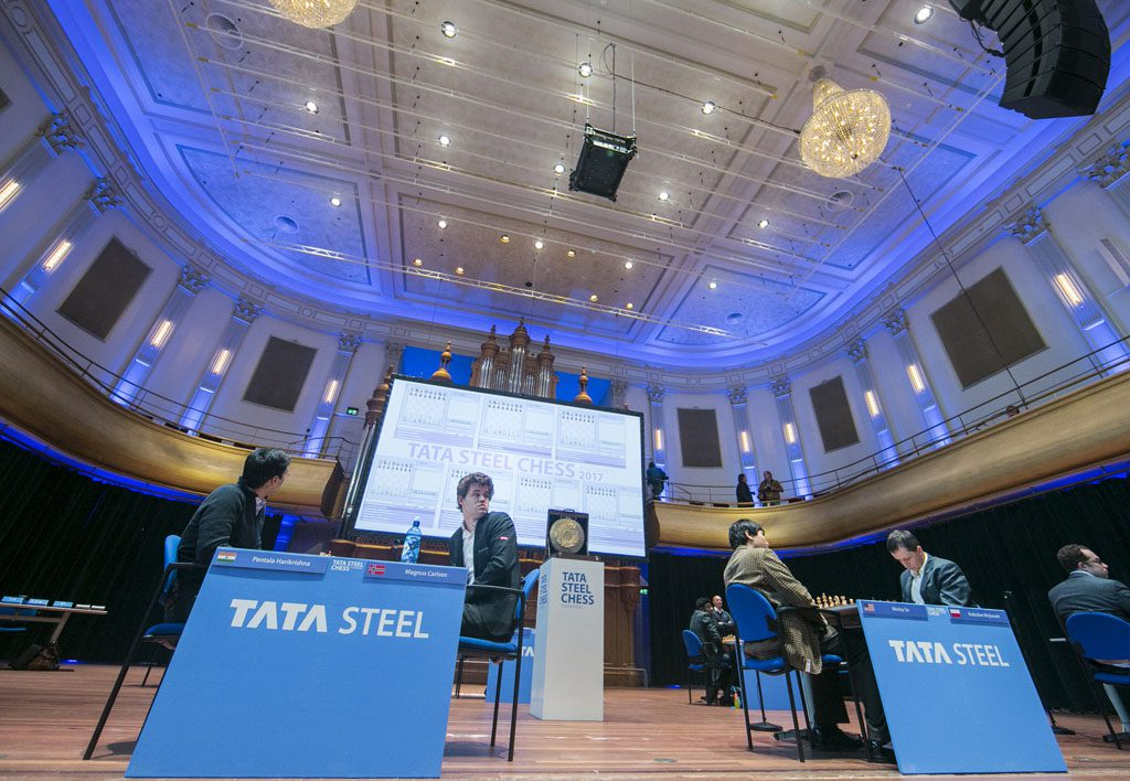 Magnus Carlsen skapte aldri vinstsjanser mot Pentala Harikrishna i 10. runde av Tata Steel Chess. Foto: Maria Emelianova