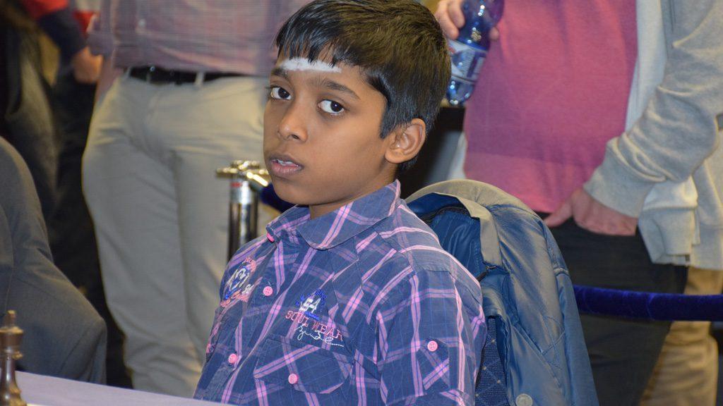 11-årige R. Praggnanandhaa kan bli den nye Anand. Her fra Wijk aan Zee i januar. Foto: Tarjei J. Svensen