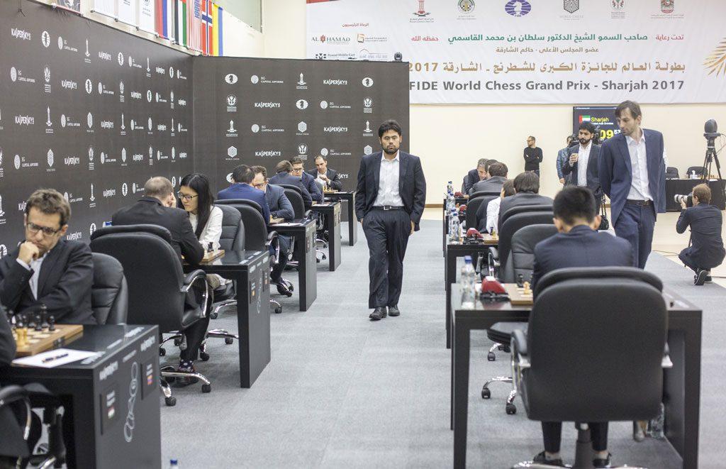 Sharjah Grand Prix spilles i byens enorme sjakklubb. Foto: Maria Emelianova
