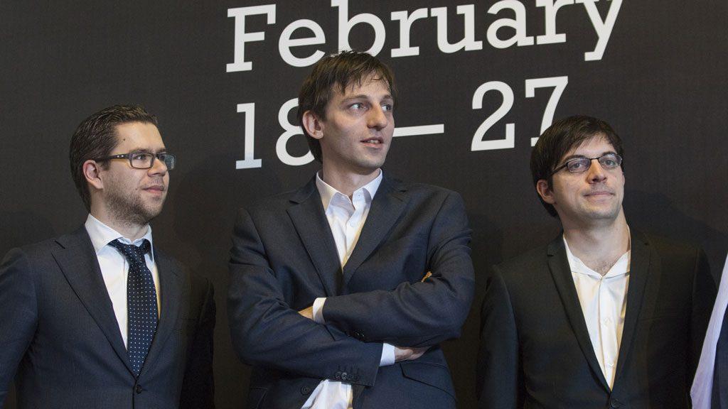 Jon Ludvig Hammer, Alexander Grischuk og Maxime Vachier-Lagrave på åpningen. Foto: Maria Emelianova
