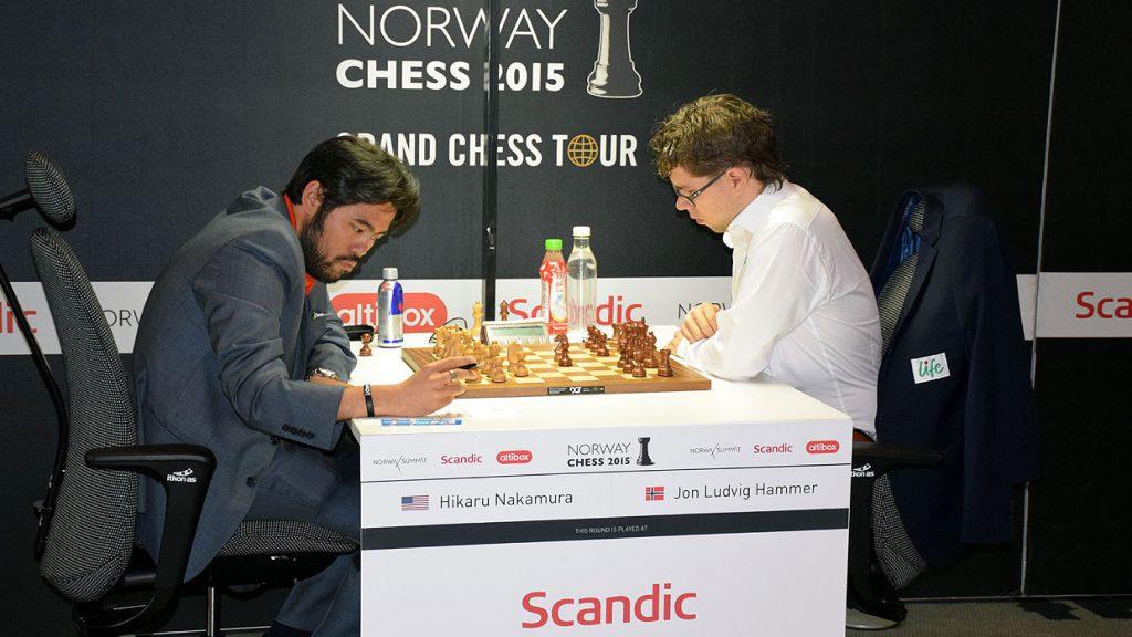 Jon Ludvig Hammer fra møtet med Hikaru Nakamura i Norway Chess i 2015. Foto: Tarjei J. Svensen