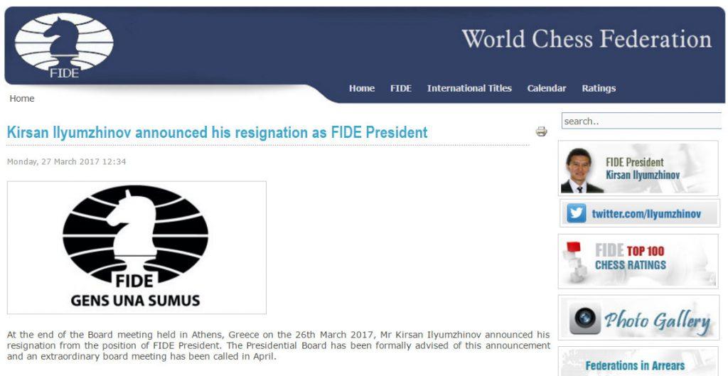Meldingen som ble publisert på FIDEs nettsider. Foto: Skjermdump fide.com