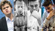 Norway Gnomes' lag i finalen søndag: Magnus Carlsen, Kjetil A. Lie, Joachim B. Nilsen og Sebastian Mihajlov. Foto: Maria Emelianova/Rolf Haug/mattogpatt.no